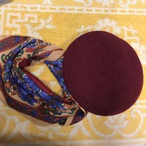 Maroon raspberry burgundy beret